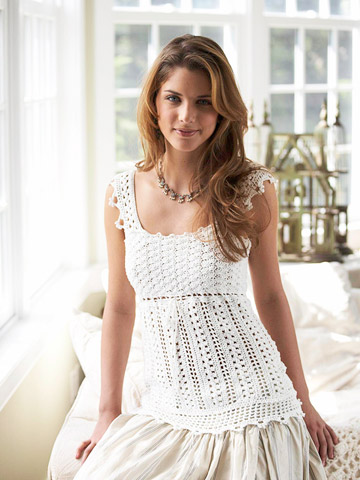Crochet clothing patterns: halter top, dress, wedding dress