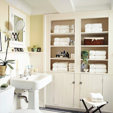 Bath Storage - Recess a Cabinet into the Adjoining Room