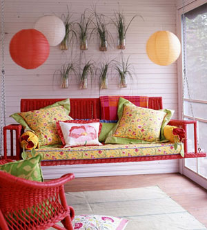 Red porch swing
