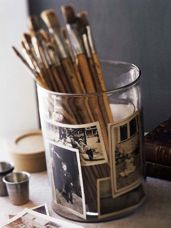 Photo album pencil cup