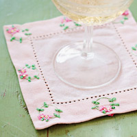 Cocktail coaster with ribbon embroidery