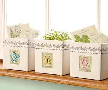 Stamped, embellished flowerpots, quick and easy gift ideas