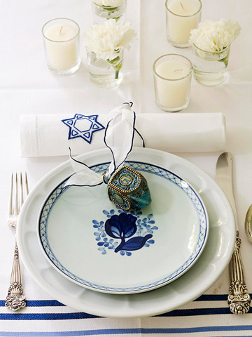 White plates with dreidel