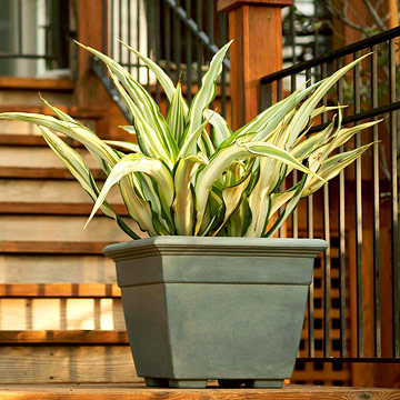 Faux lead finish plastic planter