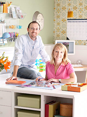 Homeowners in scrapbooking room