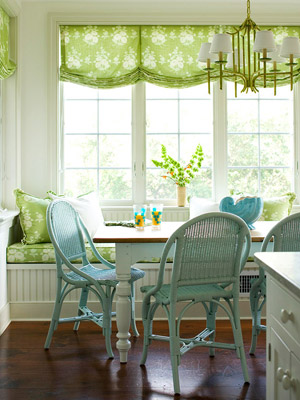 Blue and green breakfast nook
