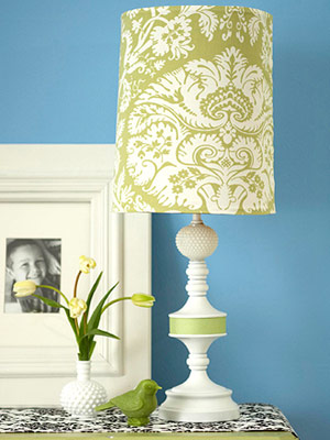 Fabric-covered lampshade