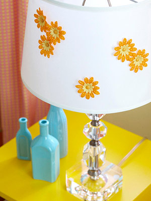 Add flowers to lampshade