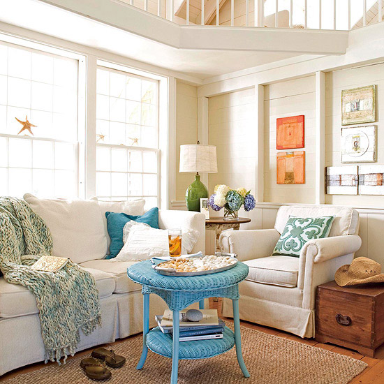 Living room overall with blue wicker table