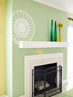 Accent wall with stencil