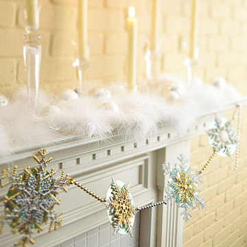Mantel with snowflakes