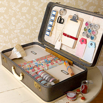 Open suitcase with crafts supplies inside
