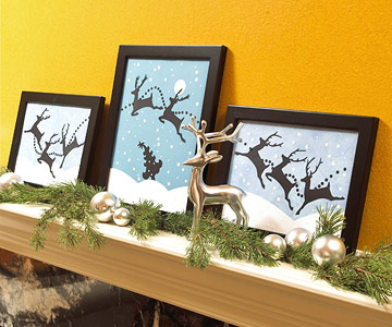 Reindeer pictures on mantel