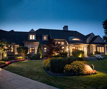 Front yard landscape with lighting