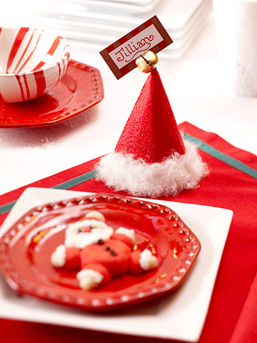 Deck the holiday 39 s santa hat placecard holder and snowman for Place settings name card holders