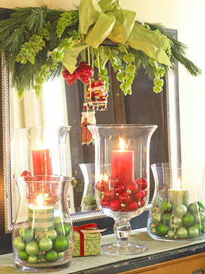 Candle Decorated Mantel
