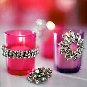 Plain votives dressed up with costume jewelry