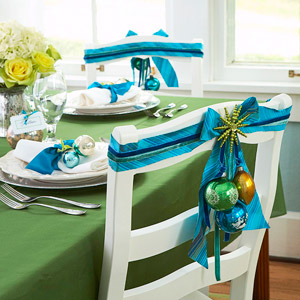 blue ribbons table setting