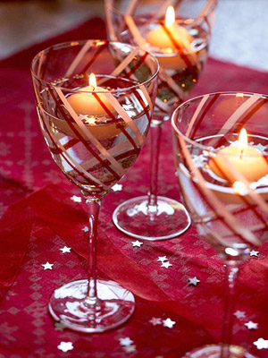 Decorative goblets with floating candles