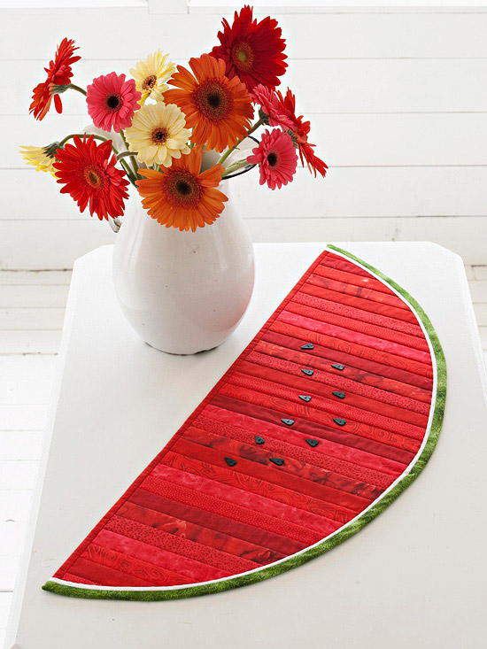 Watermelon table runner, summer quilt project