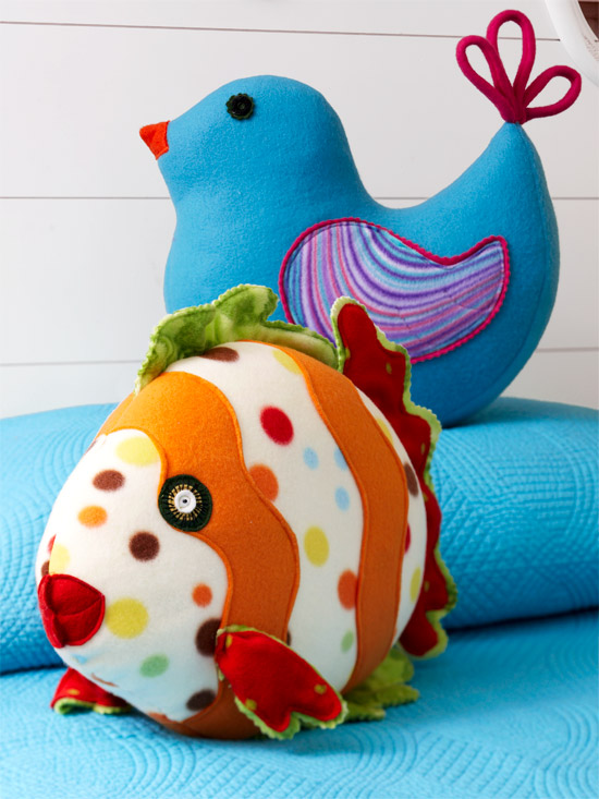 Fish and bird stuffed animals/pillows made from fleece