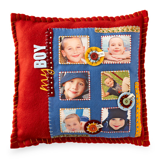 Red and blue felt pillow with photo squares.
