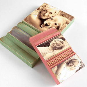 Photos decoupaged on antique wood pieces