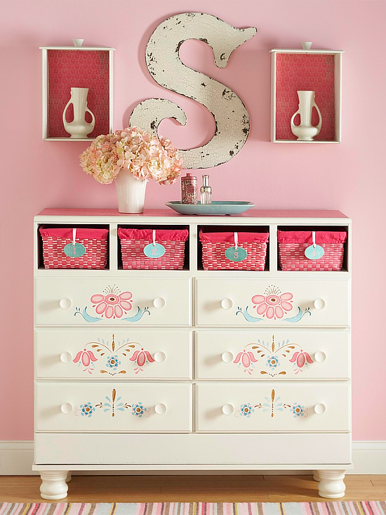 Finished stenciled dresser