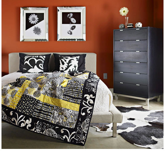 Black, white, and yellow large quilt