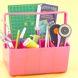 Pink basket for crafts tool storage