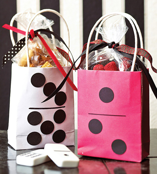 Gift bags with dots on them to mimic dominos