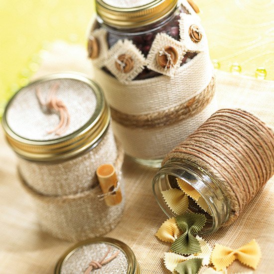 Jars wrapped in jute and raffia