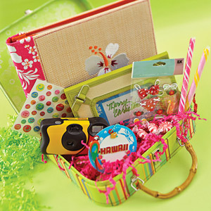 Gift box suitcase filled with tropical theme gifts
