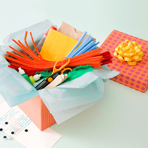 Gift box of crafts supplies