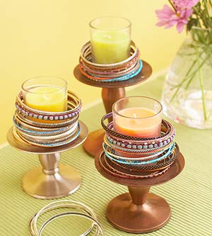 Candles to hold bracelets