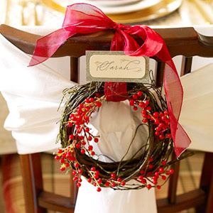 Small wreath on the back of a dining room chair