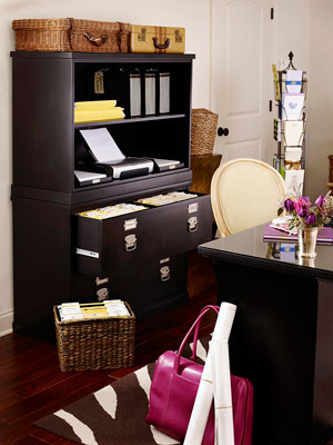 Armoire behind desk