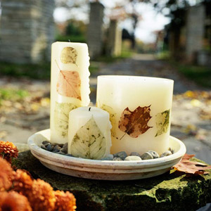 Candles with pressed leaves