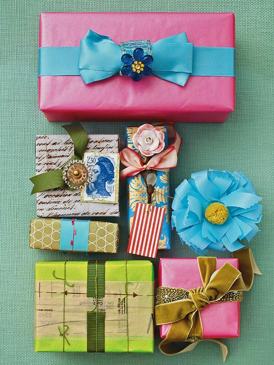 Several boxes with unexpected wrapping and embellishments