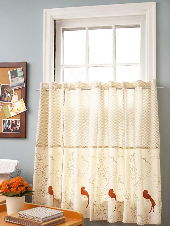 Patterned cloth napkins as curtains