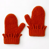 Two red felted mittens