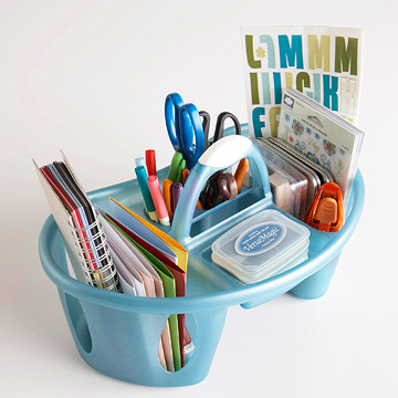Bath tote filled with crafts supplies