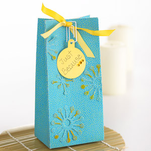 Blue bag with yellow bow and gift tag attached by paper clip