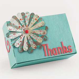 Gift box decorated with word and flower