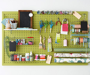 Pegboard filled with crafts supplies