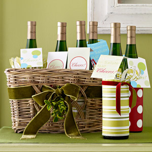 Wine bottles with gift tags wrapped in paper