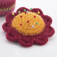 Crocheted flower pincushion