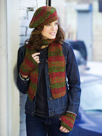 Knit scarf, wristers, and hat