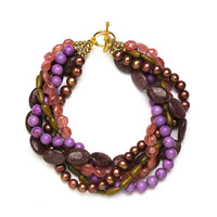Multistrand beaded necklace with purple beads