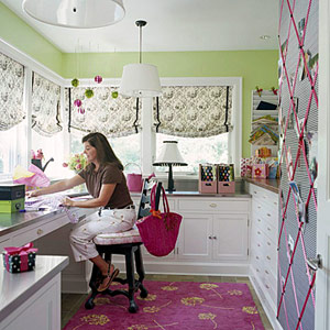 Green and pink crafts room